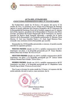 Acta del fallo del jurado del concurso fotográfico del IV Centenario